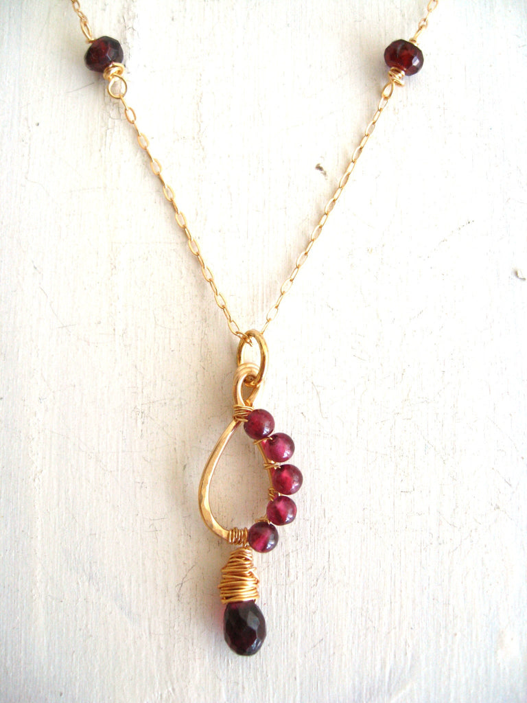 As seen on Legacies - Garnet teardrop Necklace