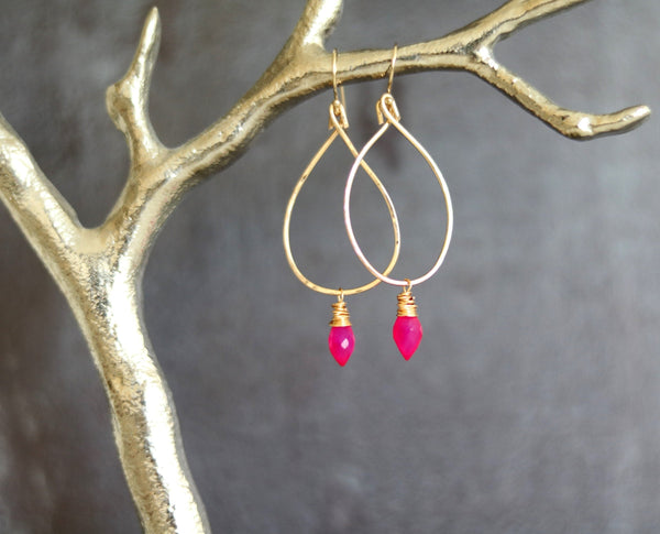 As seen on Jane The Virgin - Hammered Gold hoops with pink chalcedony