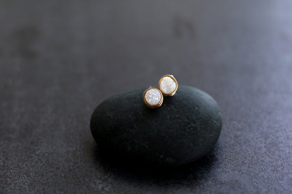 Round White Druzy studs earrings