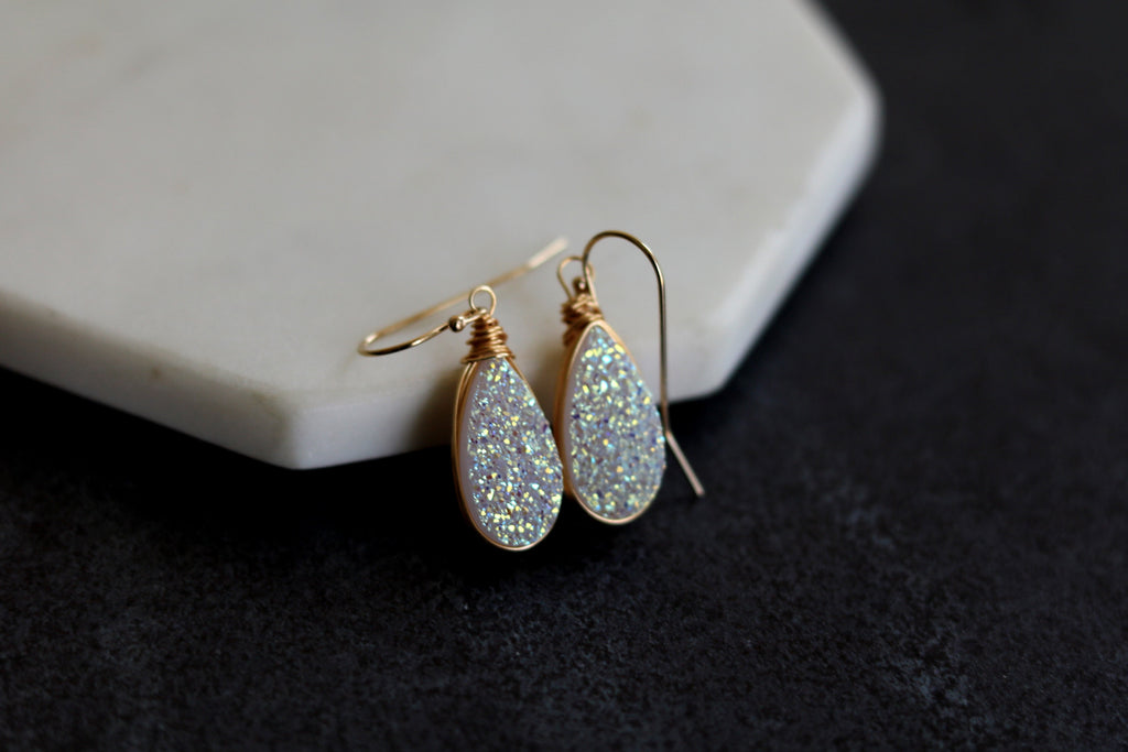 Teardrop Druzy earrings - Amaretto opalescent