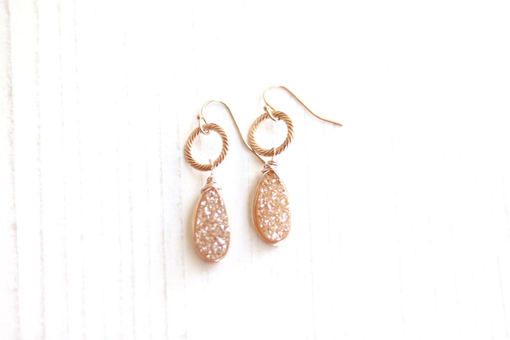 Champagne Druzy Teardrop Earrings