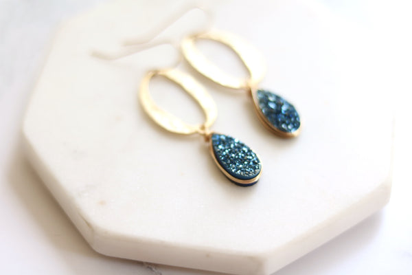 Gold and blue teardrop Druzy Earrings