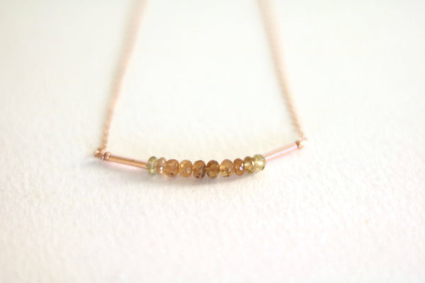 Ombre Imperial Topaz bar necklace