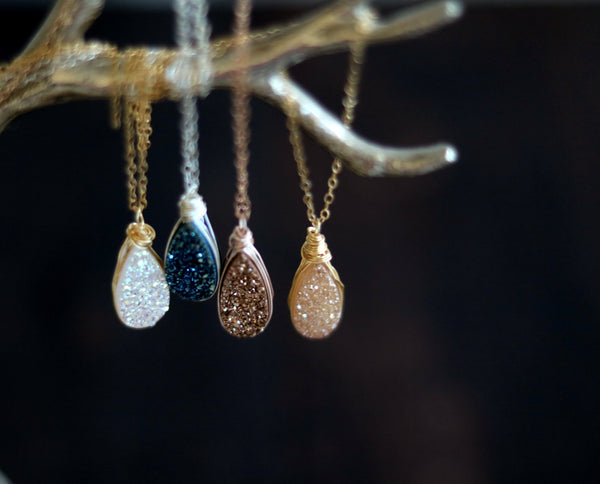 Athena Teardrop druzy pendant neckace- Multiple colors