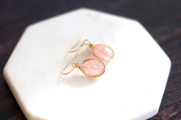 Pink Morganite drop earrings