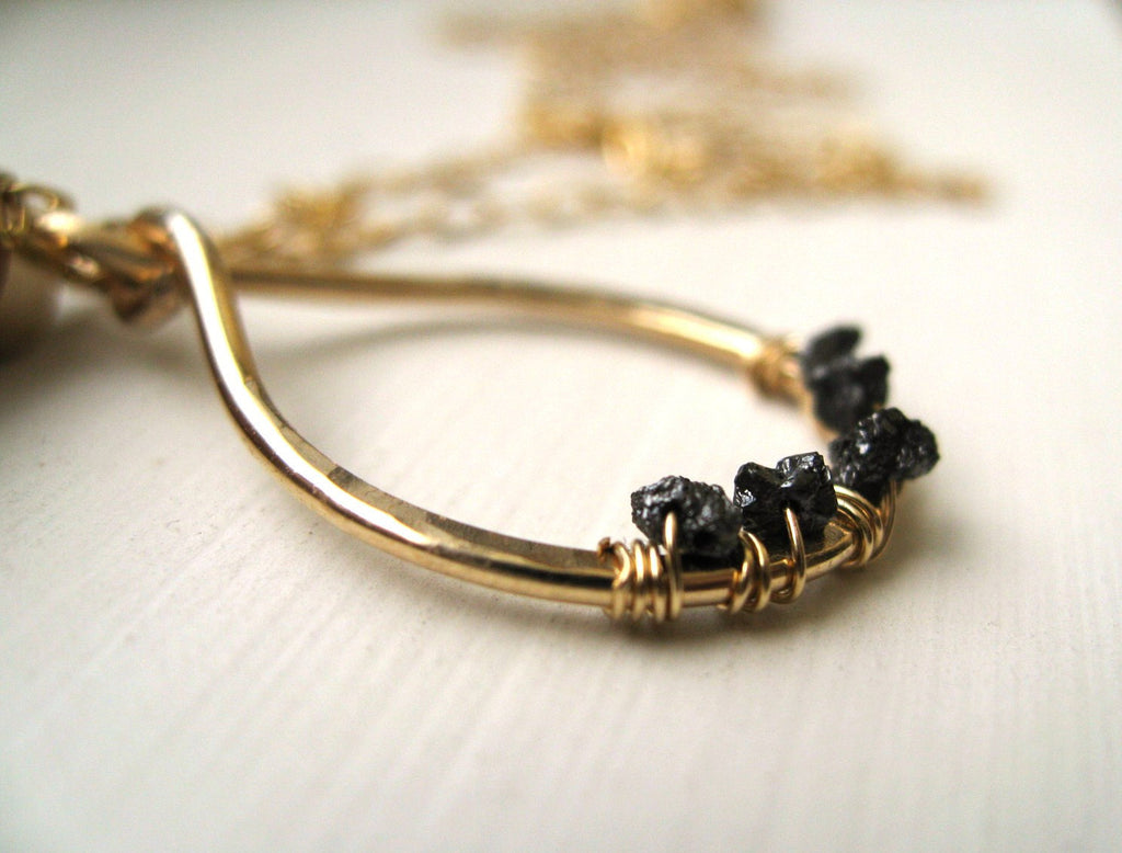 Rough Black Diamond teardrop necklace