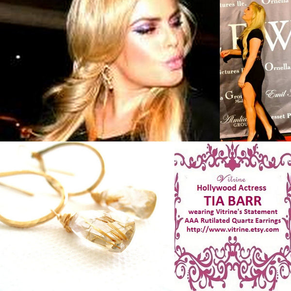 As seen on ACTRESS TIA BARR - Gold Rutilated Quartz Earrings