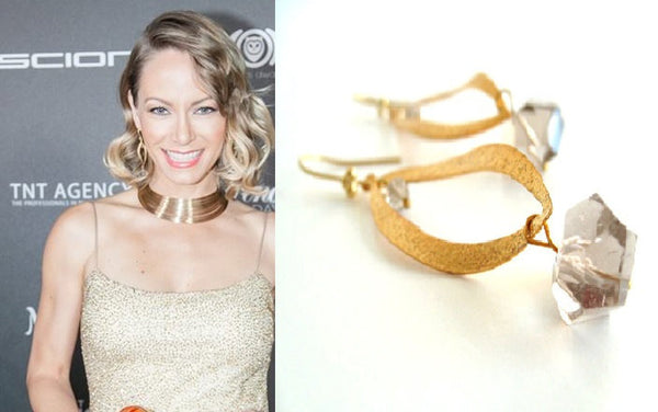 As worn by Actress Stephanie Drapeau - Smoky quartz earrings