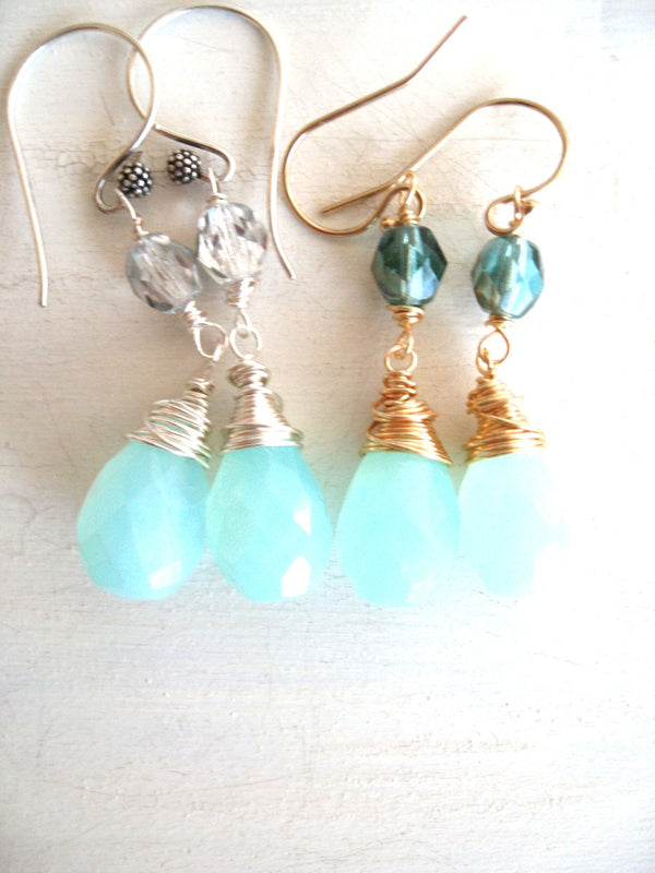 Blue Peruvian Opal Drop Earrings Sterling Silver 14K goldfilled