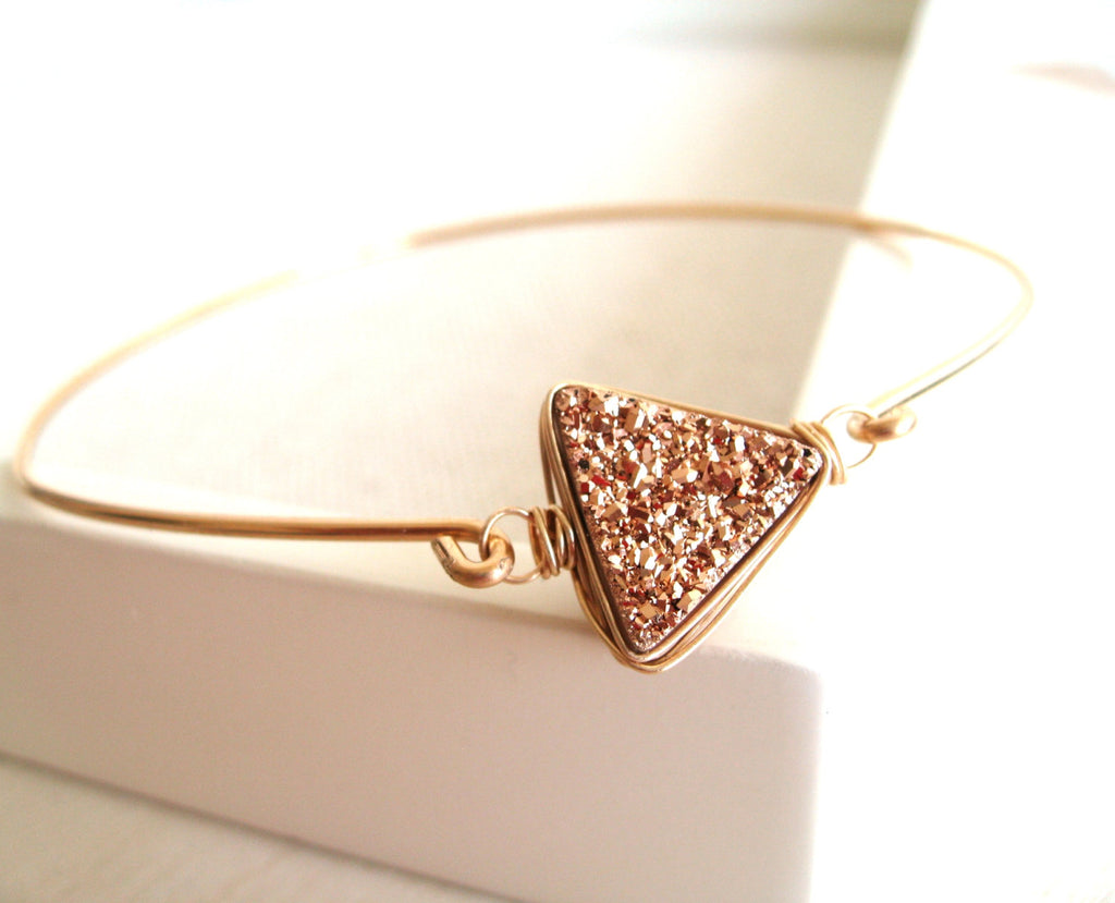 Rosegold Triangle Druzy Bangle
