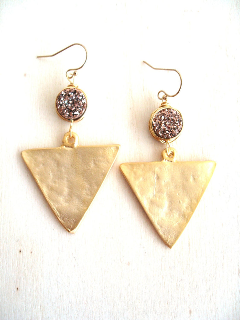 As seen on OK!TV USA Gold Triangle and Druzy statement earrings
