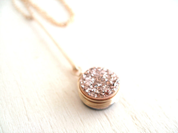 As worn by Actress Stephanie Drapeau - Rose gold Druzy Drop pendant necklace