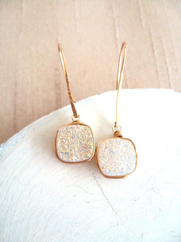 White Druzy Dangle Earrings Wedding Jewelry