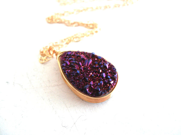 Royal Purple Teardrop Druzy Necklace
