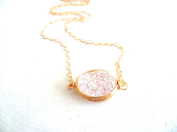 Oval White Druzy Necklace