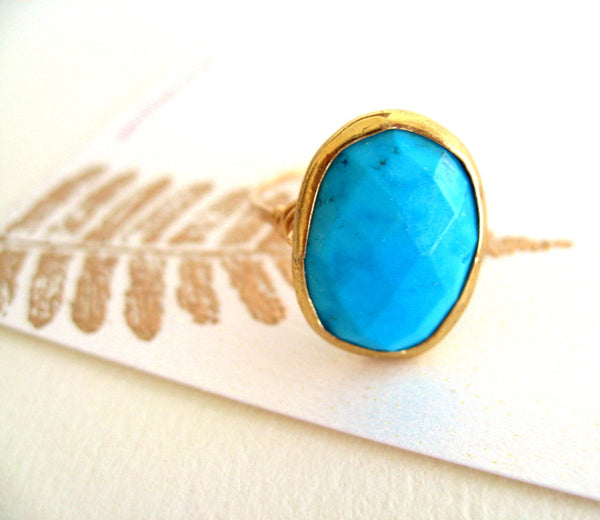 Statement Gold Turquoise ring