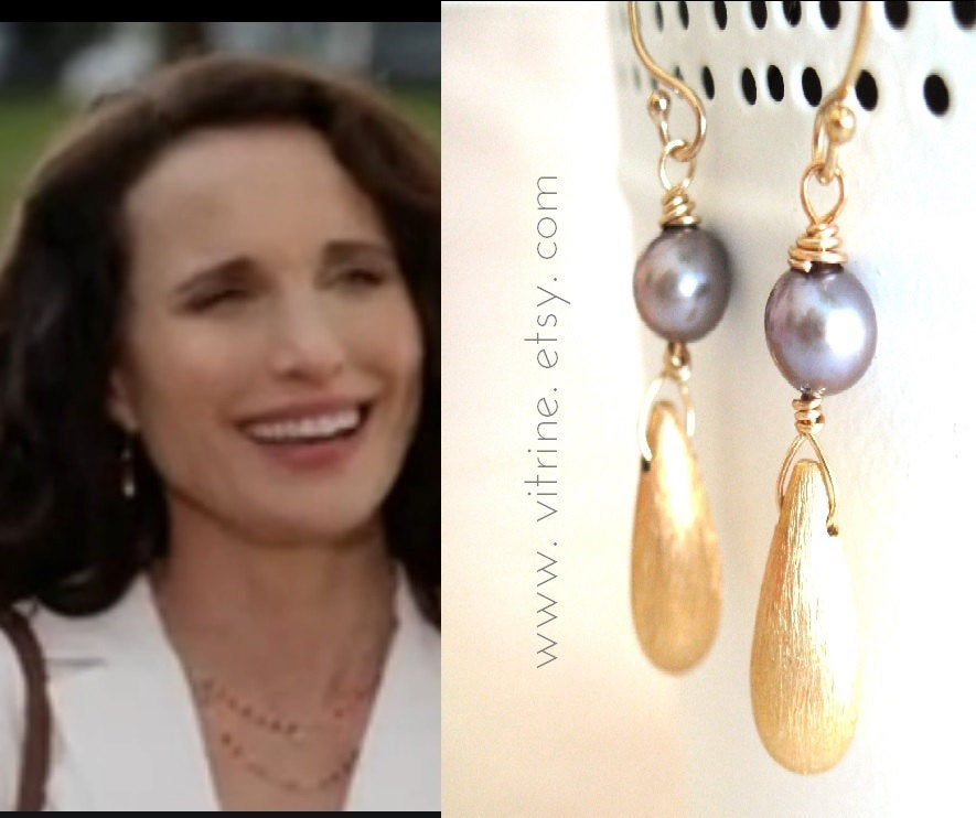 As seen on Cedar Cove - Mauve Grey pearl earrings vermeil gold Andie MacDowell