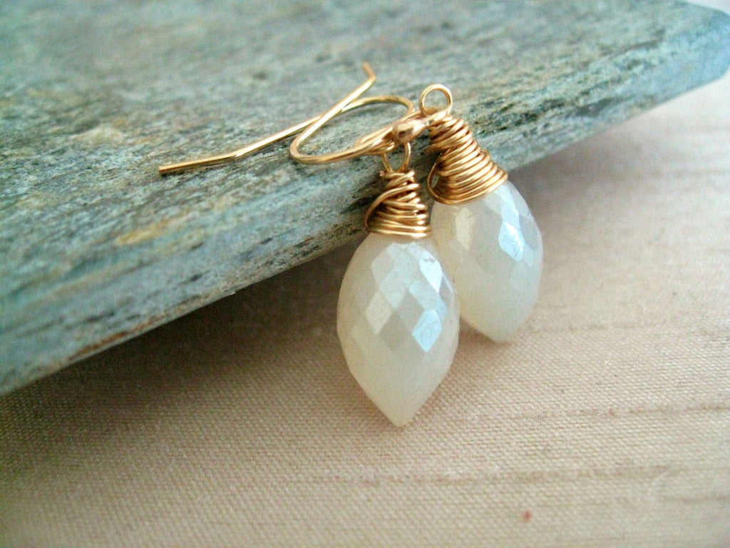 Pearl chalcedony bridal earrings