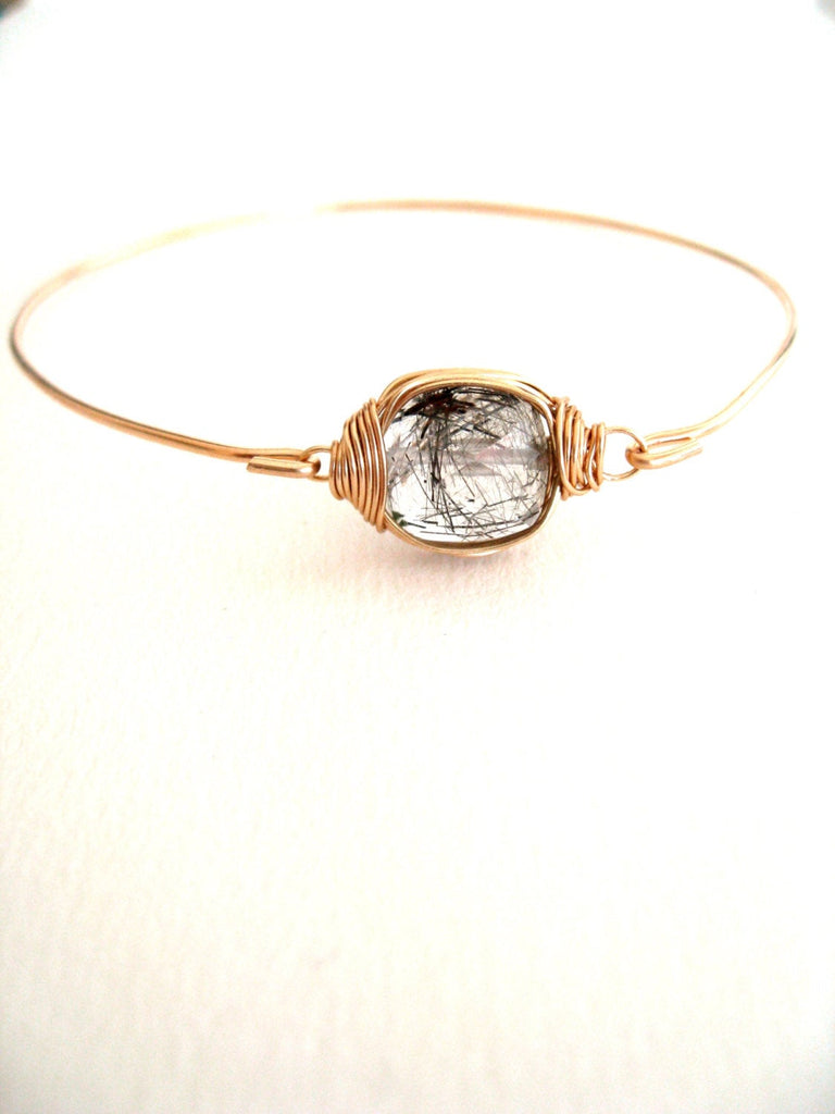 Black Rutilated quartz bangle