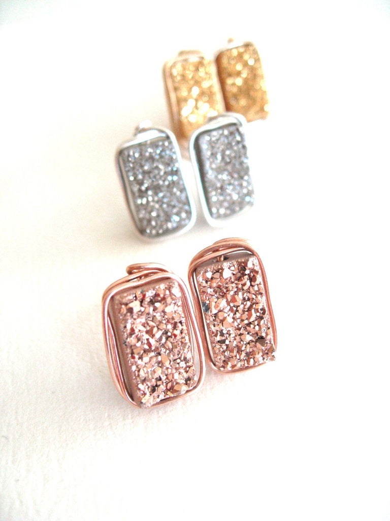 Druzy Bar Studs 24K gold, rose gold, silver
