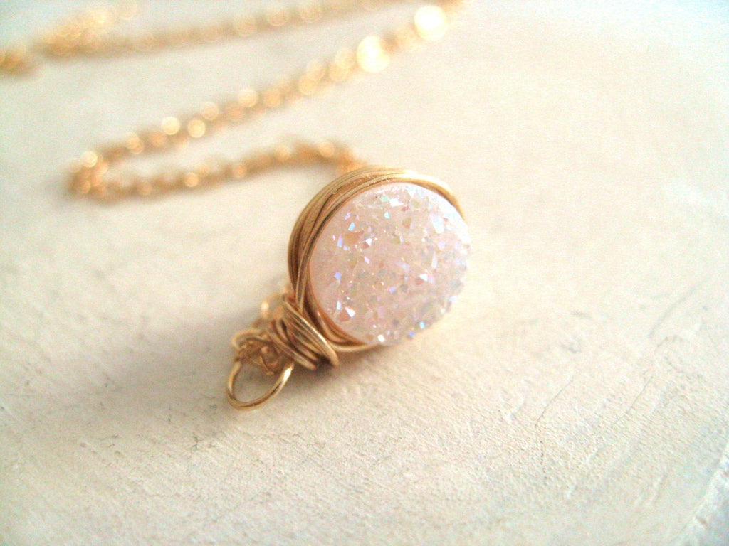 Round White Druzy Necklace
