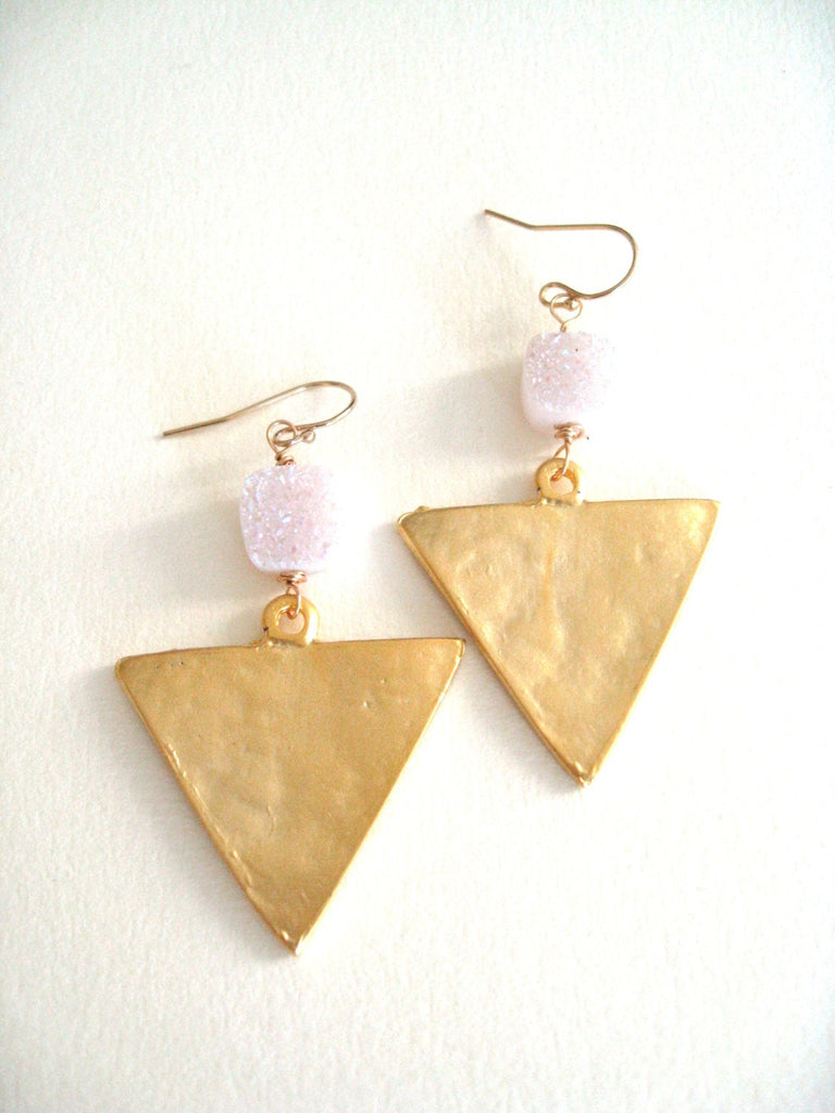 Statement white Druzy Gold Triangle earrings