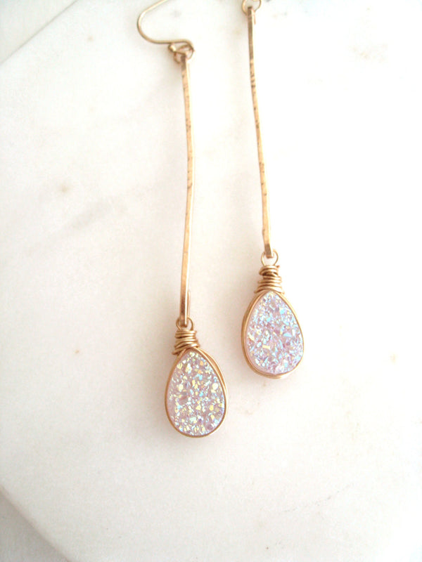 Linear White Teardrop Druzy Earrings -featured in DestinationIDo Magazine