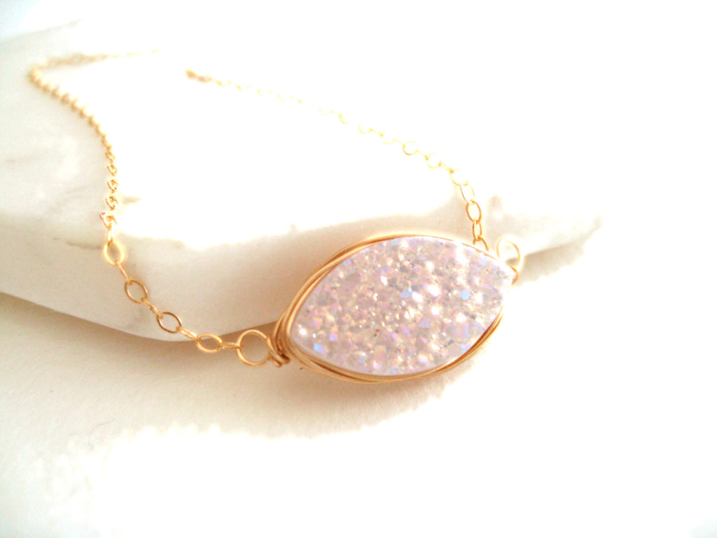 Marquise Druzy necklace White Stargazer