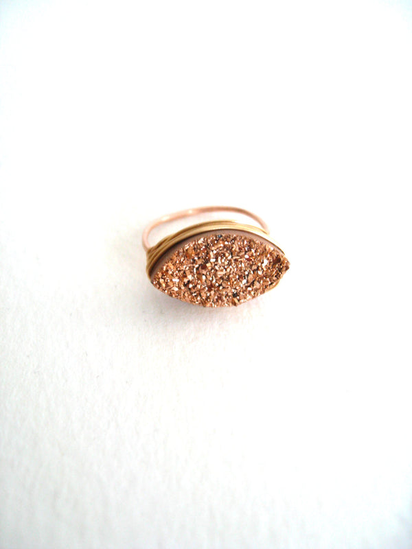 Cocktail ring Marquise Rose gold Druzy Stargazer