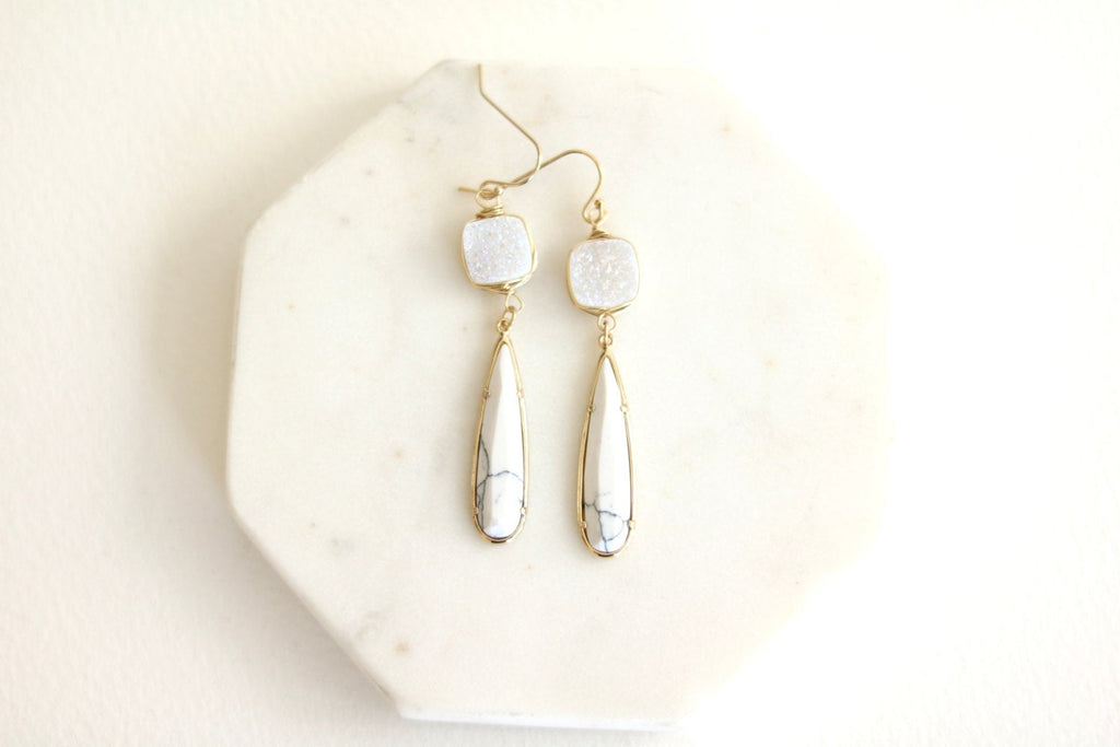 White Marble and Druzy earrings