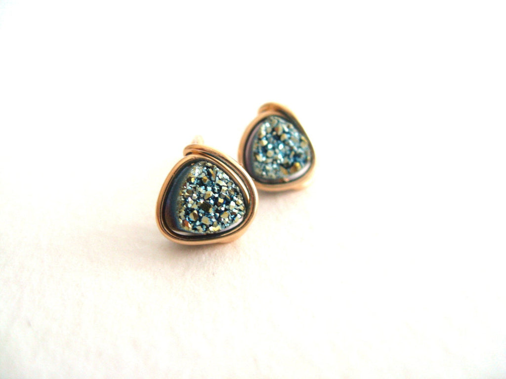 As seen on Dayspa Magazine - Blue Trillion Druzy Studs