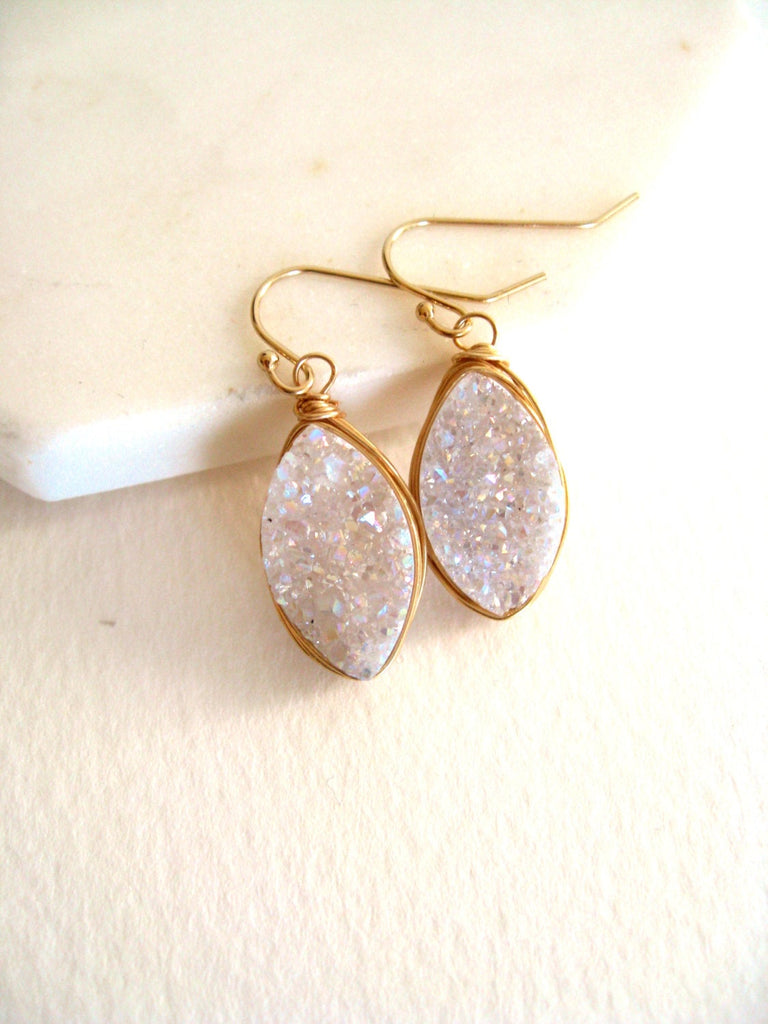 White druzy marquise earrings