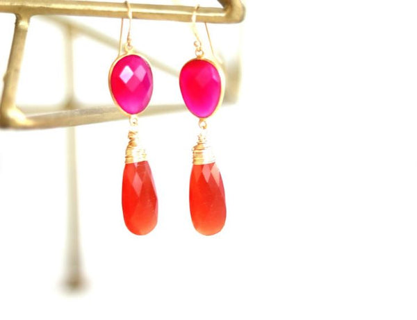 Statement earrings Pink chalcedony Orange Cat's Eye dramatic colorful drops