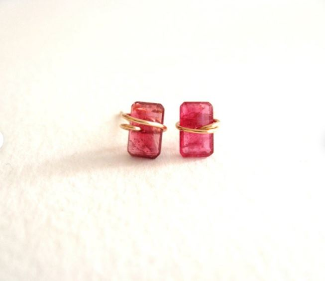 Pink tourmaline baguette studs, October birthstone, dainty earrings