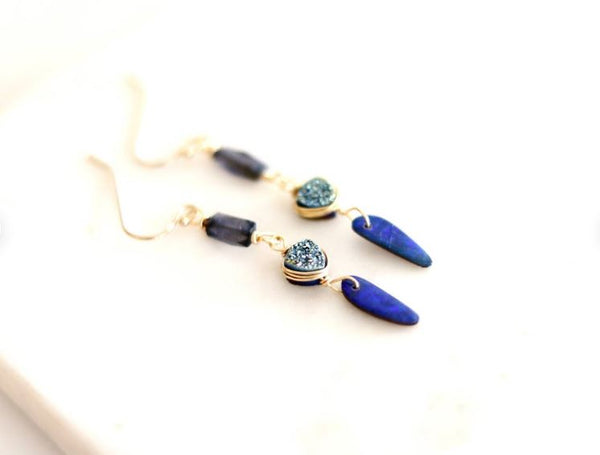 Blue Queensland Opal Drop Earrings 14K goldfilled October birthstone