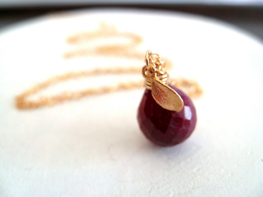 Ruby pendant necklace July birthstone gift for her