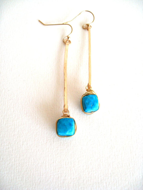 Turquoise Gemstone Linear Stick Earrings
