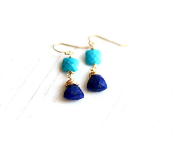 Turquoise and Lapis Lazuli Gemstone drop earrings