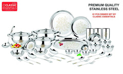 Classic Essentials Glory Stainless Steel Dinner Set, 61-Pcs, Silver
