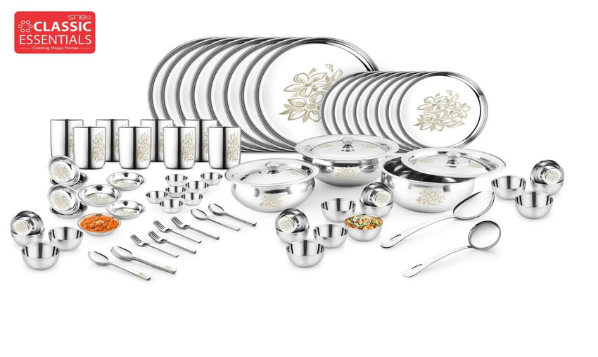 Classic Essentials Stainless Steel Glory Dinner Set of 101 Pcs, Silver
