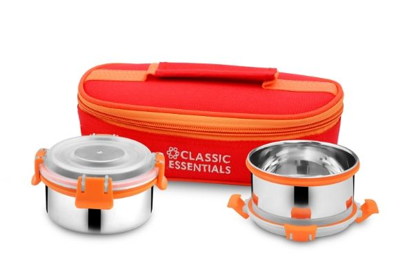 Classic Essentials Lunch Box Set of 2 (Orange, 300 ml)