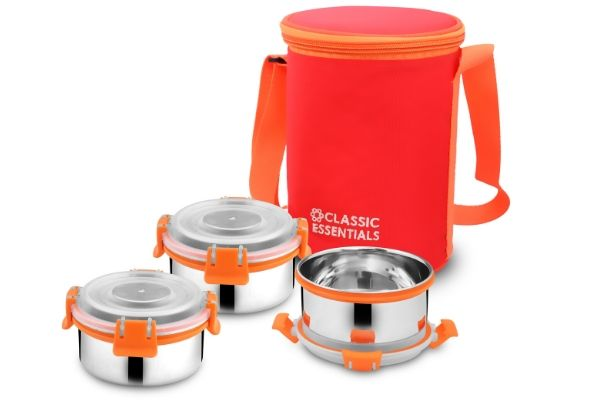 Classic Essentials Lunch Box, 3Pcs (Orange, 300ml)