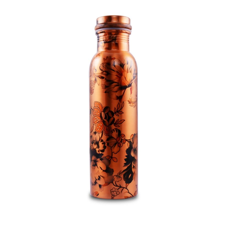 Printed Flower Design Copper Bottle