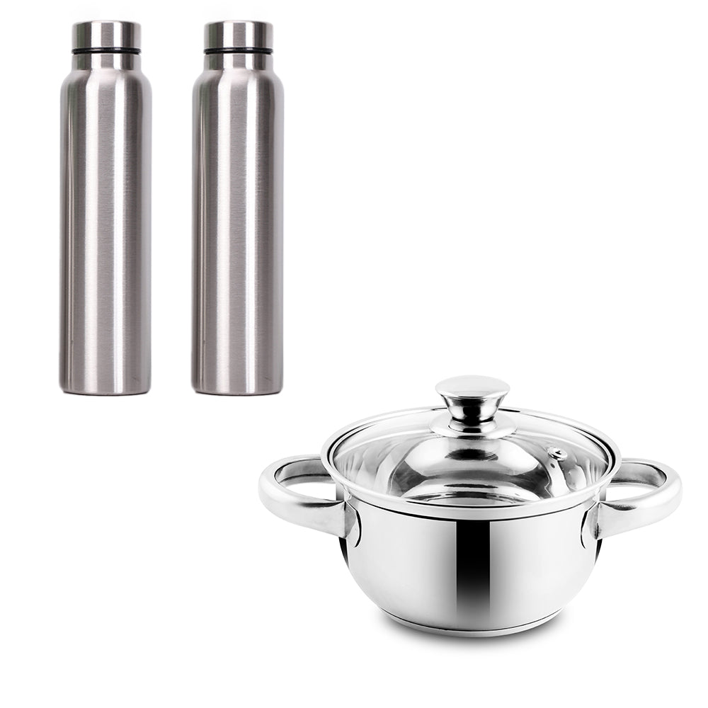 2 Stainless Steel Spring Bottle + Marvel Single Flat Bottom Casserole