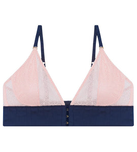 Pocketed pink lace wirefree bra for post-surgery mastectomy or double mastectomy ladies