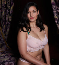 Load image into Gallery viewer, Pink lace wirefree bra for mastectomy with breast reconstruction for post-surgery