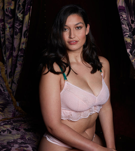 Pink lace wirefree bra for mastectomy with breast reconstruction for post-surgery
