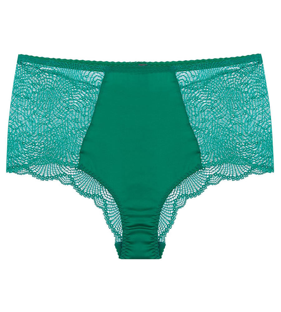 Green silk and lace high waisted pant