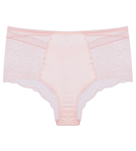 Pink lace and silk high waist pant