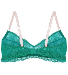 Green lace wirefree bra for mastectomy with breast reconstruction for post-surgery